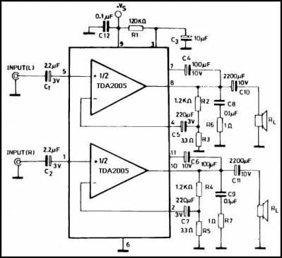 Типовая схема включения TDA2005 в стерео варианте.