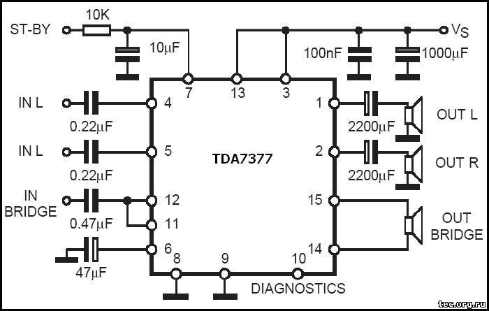 Схема включения TDA7377 в