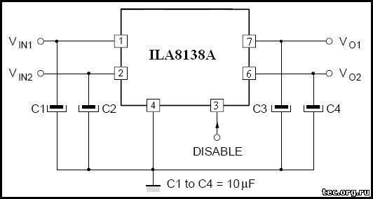 Схема включения микросхемы ILA8138A (TDA8138A)