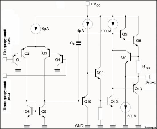 Эквивалентная схема одного канала LM2902N.