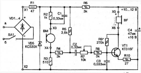 Достоинства схемы: отсутствие трансформатора, работа угольного микрофона в облегчённом режиме.